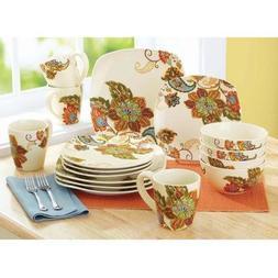 16-Piece Beautiful Floral Motif Floral, Spray Dinnerware Set
