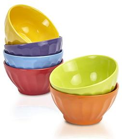 Klikel Fluted Soup Bowls Set | 6 Bright Solid Colors | Dishw