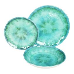 222 Fifth Fountain Turquoise 12 Piece Melamine Dinnerware Se