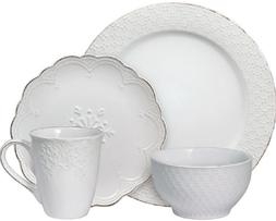 Pfaltzgraff French Lace White 16 Piece Dinnerware Set, Servi