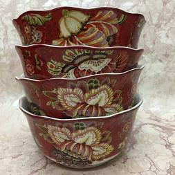 222 Fifth GABRIELLE RED Cereal Bowls Set of  Brand New!