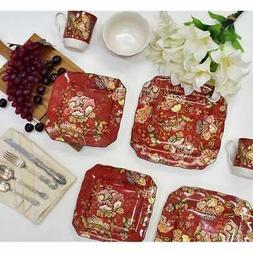 222 Fifth Gabrielle 16 Piece Porcelain Dinnerware Set with S