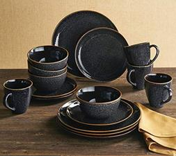 Better Homes and Gardens Stoneware 16 pc Round Black Speckle