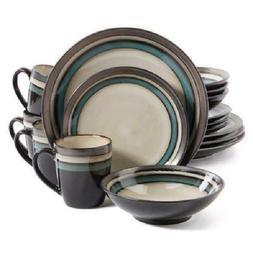 Gibson Elite Lewisville Teal Stoneware 16-piece Dinnerware S