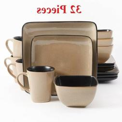 Gibson Everyday Rave Square 32-Piece Dinnerware Set, Taupe