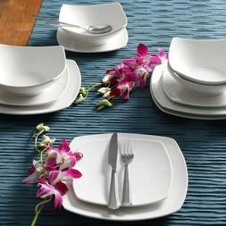 12-Piece Square Dinnerware Set Dinner Dessert Plates Bowls C