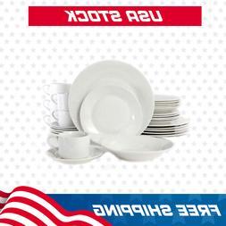 Gibson Rosendal 30 Piece Porcelain Dinnerware Set in White