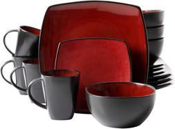 Gibson Soho Lounge 16-Piece Square Reactive Glaze Dinnerware