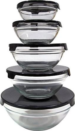 5 Piece Glass Bowls w/ Black Plastic Lids Case Pack 12 Home