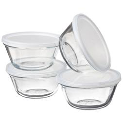 Anchor Hocking Glass Custard Cup with Snap-On Lid, Set of 4