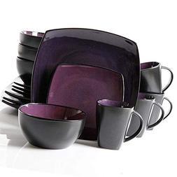 Glaze Dinnerware Set 16-Piece Square Reactive Stoneware Beau