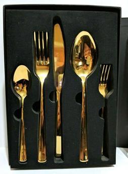 Vistella Gold Dinnerware Flatware 20 Piece Set Stainless Ste