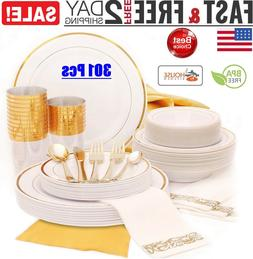 Gold Dinnerware Set for 25 Guests for Party, Wedding ,Dispos