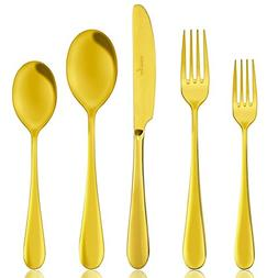 AOOSY Gold Flatware Modern 5 piece Gold 18/10 Stainless Stee