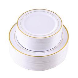 102 Pieces Gold Plastic Plates, White Party Plates, Premium