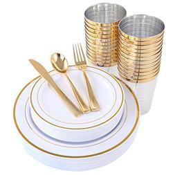 Gold Plastic Plates & Plastic Silverware & Gold Cups 150 Pie