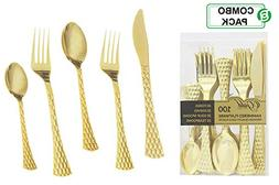 Gold Plastic Silverware Set | Assorted Solid Plastic Cutlery