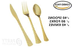 Party Bargains Gold Plastic Silverware   Solid Plastic Cutle