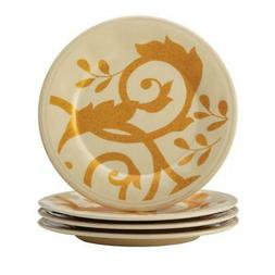 Rachael Ray - Gold Scroll 4-piece Appetizer Plate Set - Almo