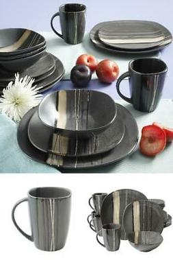 Gray Modern Dinner Set Dinnerware 16-Piece Dishes Plate Mug