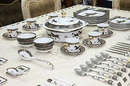 Royalty Porcelain Greek Key Horse Cheval 75-pc Large Dinner