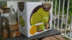 green and white 4pc dinnerware set new