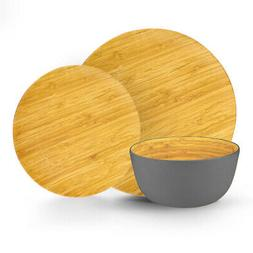 Brilliant - Grey Colored Bamboo Dinnerware Set, 12 Piece Set