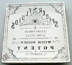 "222 Fifth Hallow Apothecary Halloween 8"" Square Black White"