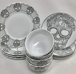 12-Piece 222 Fifth Halloween Lace Skull Fine Porcelain Dinne