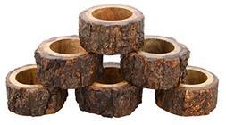Shalinindia Handcrafted Rustic Wood Napkin Rings Set of 6 fo