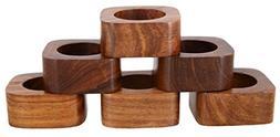 Shalinindia Handmade Party Decor Wooden Napkin Rings Set of