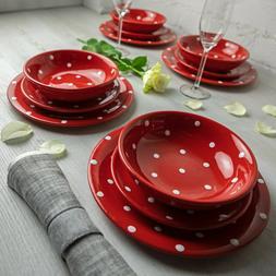 Handmade Red & White Polka Dot Ceramic Dinnerware Set, Dinni
