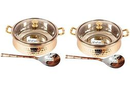 Set of 2 Prisha India Craft SMALL SIZE Handmade Steel Copper