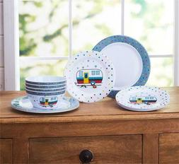HAPPY CAMPER THEMED 12 PC MELAMINE DINNERWARE SET and/or 124