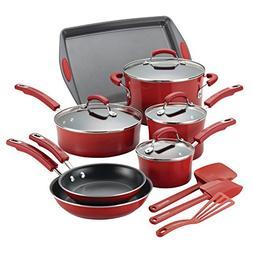 Rachael Ray Hard Porcelain Enamel Nonstick Cookware Set, 14-