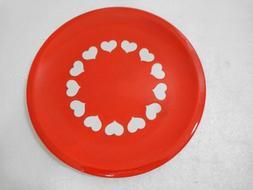 """Waechtersbach Heart Dinner Plate 10"""" White Hearts on Red Pla"""