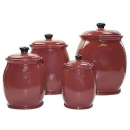 Hearthstone Chili Red 4-Piece Canister Set by American Ateli