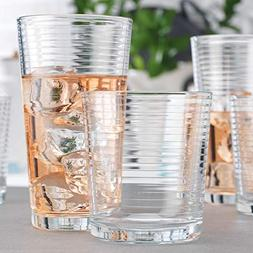 Set of 16 Heavy Base Ribbed Durable Drinking Glasses Include