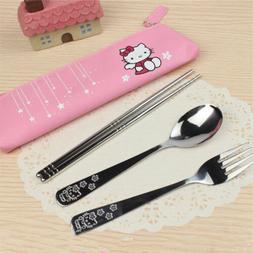 Hello Kitty Dinnerware 3PCS/Set Stainless Steel School Trave