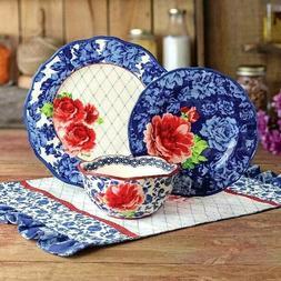 heritage floral 12 piece dinnerware set blue