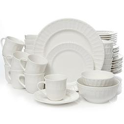 Heritage Place 48-Piece Dinnerware Set comes with scalloped