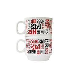 American Atelier His & Hers Stackable Mugs , Black/Red