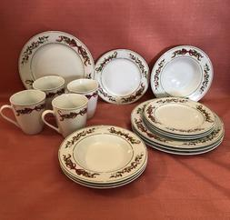 American Atelier Holly and Berries Dinnerware set 16-pc Ston