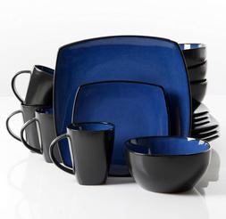 Gibson Home 16 Piece Dinnerware Set Dishes Blue/Black Kitche