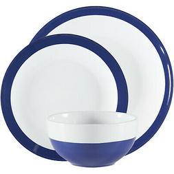 Gibson Home 24-Pc Round Blue & White Stoneware Dinnerware Se