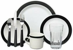 Gibson Home 72556.32RM Essex 32-Piece Dinnerware Set, Black/