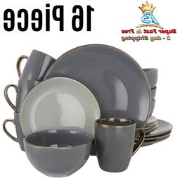 Home Assorted Solid Gray Round Stoneware Collectible Dinnerw