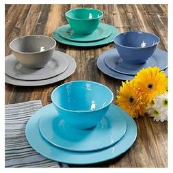 BRELA IN BLUE 12-PIECE MELAMINE DINNERWARE SET