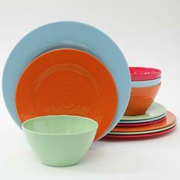 Gibson Home Brist 12 Piece Melamine Dinnerware Set, Assorted