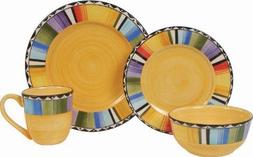 Gibson Home Fandango 16-Piece Dinnerware Set, Gold/Various b